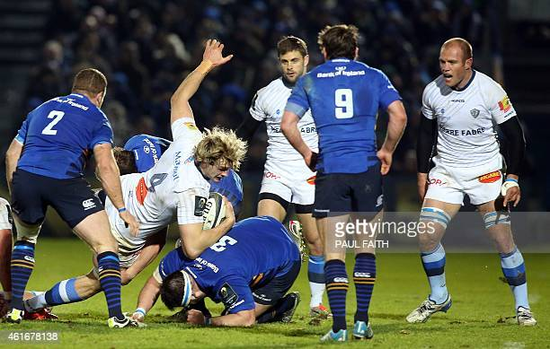 Castres' Scottish lock Richie Gray with the ball during the European Rugby Champions Cup rugby union match between Leinster and Castres Olympique at...