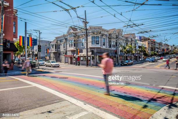 Castro District Rainbow Crosswalk Intersection - San Francisco, California, USA