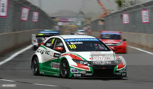 Castrol Honda WTC Team driver Tiago Monteiro of Portugal steers his car during a training session as part of the FIA World Touring Car Championship...