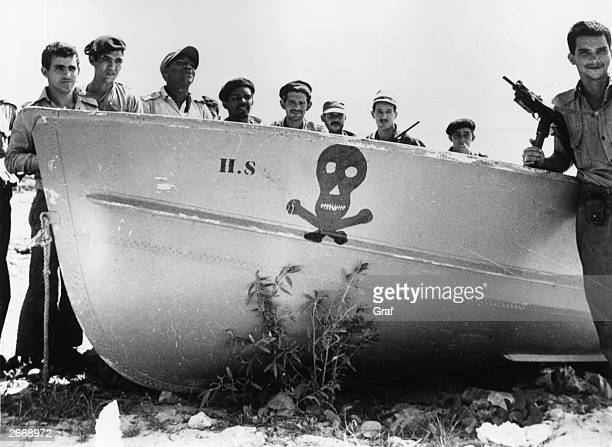Castro's soldiers at Playa de Giron Cuba after thwarting the illfated US backed 'Bay of Pigs' invasion