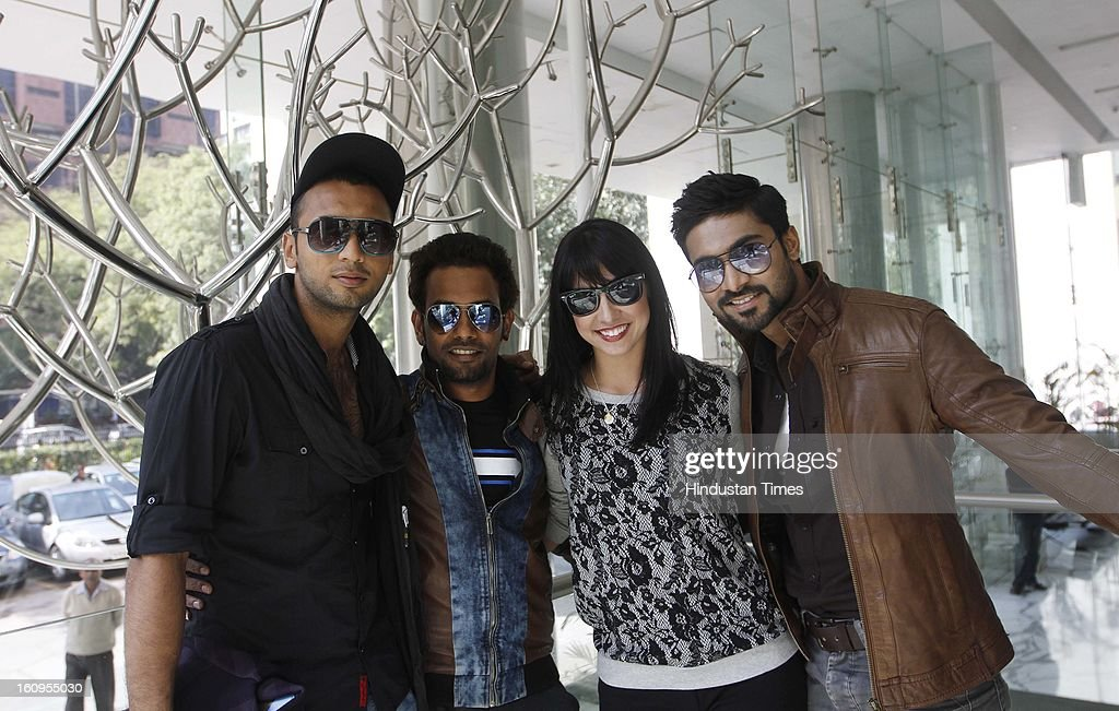 Casts of ABCD movie (L- R) Punit Pathak, Dharmesh Yelande, Lauren Gottlieb, <a gi-track='captionPersonalityLinkClicked' href=/galleries/search?phrase=Salman+Khan+-+Actor&family=editorial&specificpeople=558807 ng-click='$event.stopPropagation()'>Salman Khan</a> during an interview at HT House on February 6, 2013 in New Delhi, India. Their upcoming movie Anybody Can Dance is releasing worldwide on February 8, 2013. It is also releasing in Tamil titled as Aadalam Boys Chinnatha Dance.