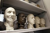 MOLLARD Casts of human heads that are part of the phrenology collection are pictured at the vaults of the Museum of Man on August 27 2015 in Paris...
