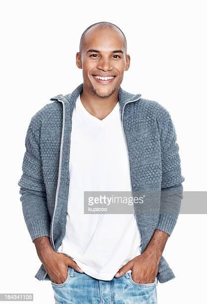 Décontracté souriant afro-américaine homme