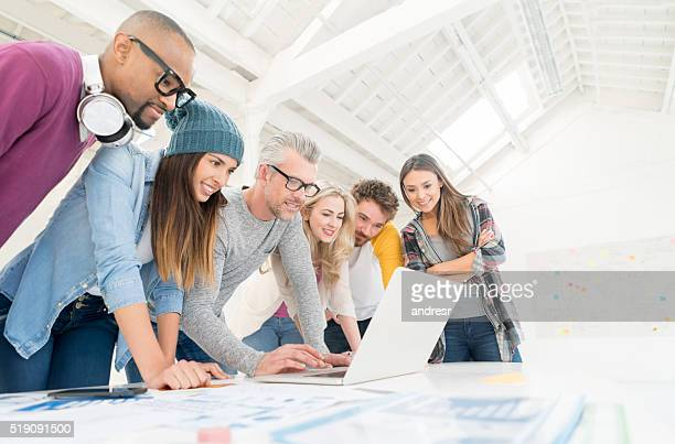 Casual business group working online