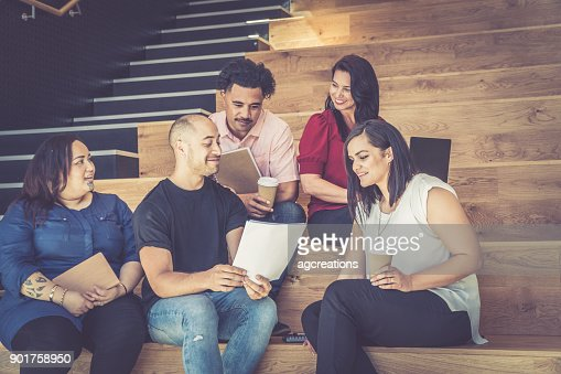 Casual Business Meeting on Stairs : Stock Photo