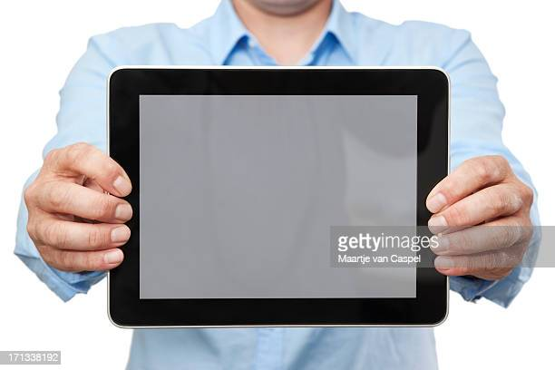 Casual Businessman Showing Digital Tablet PC (Horizontal)