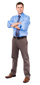 Business casual businessman, thirties, with arms crossed, sleeves rolled up,  isolated on white background