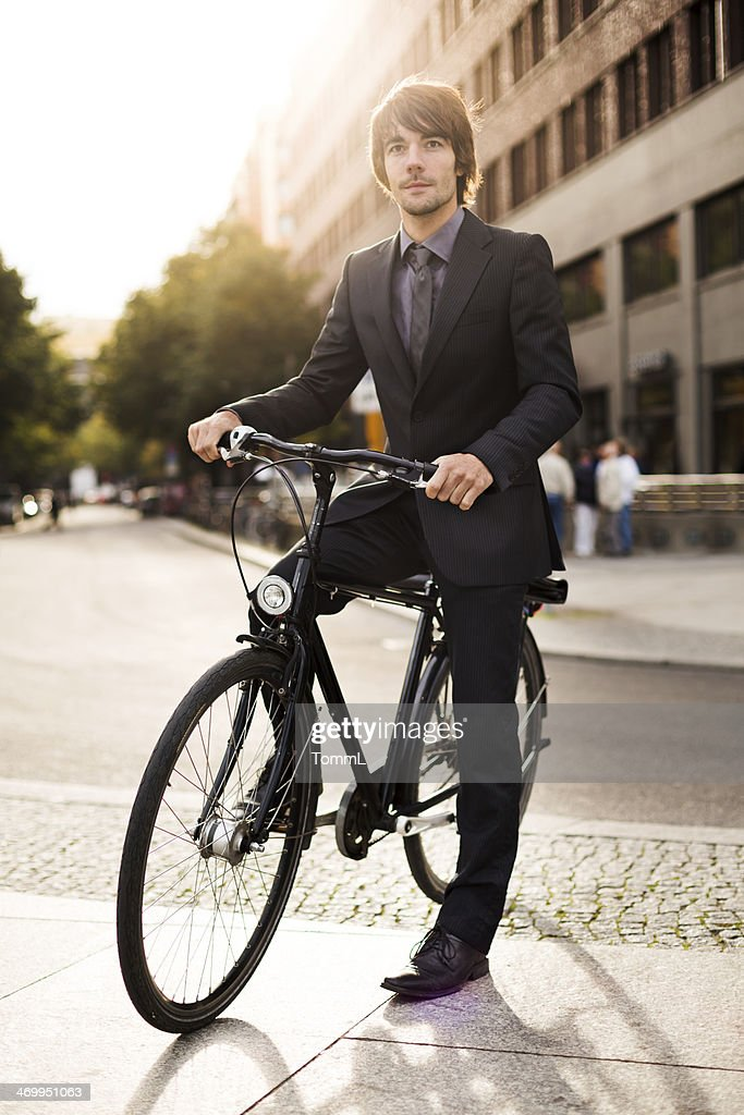 Casual Businessman With Bicycle