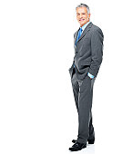 Full length portrait of mature businessman standing isolated on white background