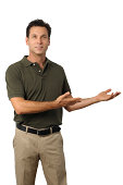 Casual Dress Businessman Gesturing with Hands on White