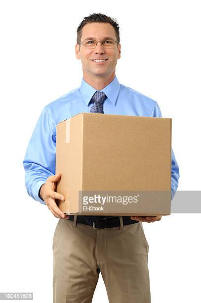 Casual Dress Businessman Holding Cardboard Box Isolated on White Background