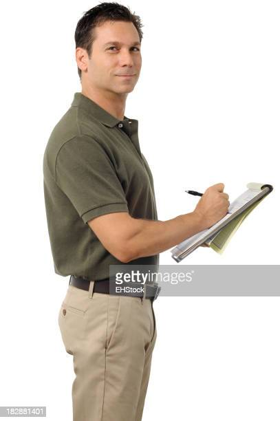 Casual Dress Businessman Writing on Clipboard