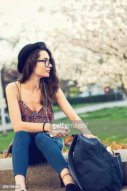 Casual girl in the warm spring time