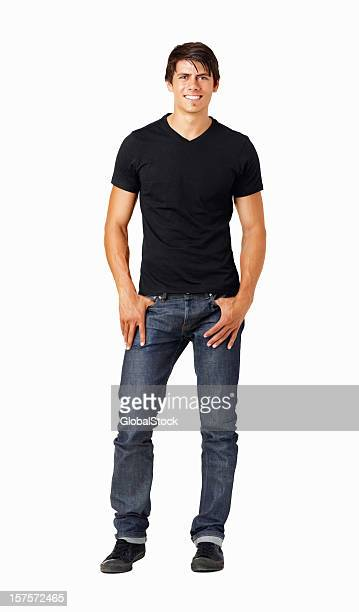 Casual healthy guy standing isolated on white