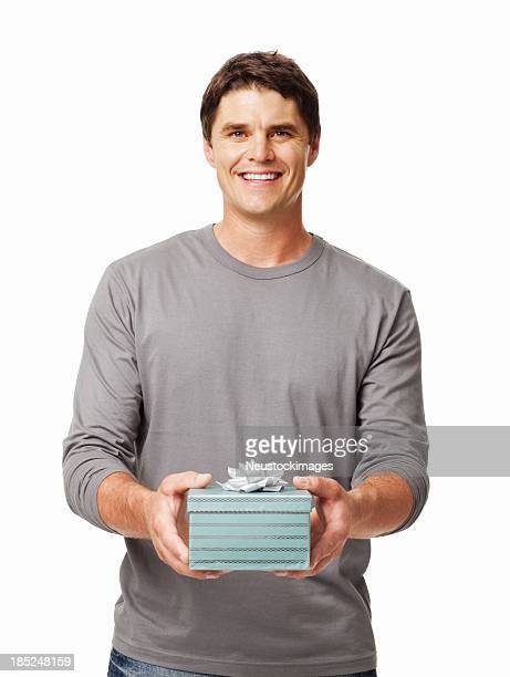 Casual Male With Gift Box - Isolated