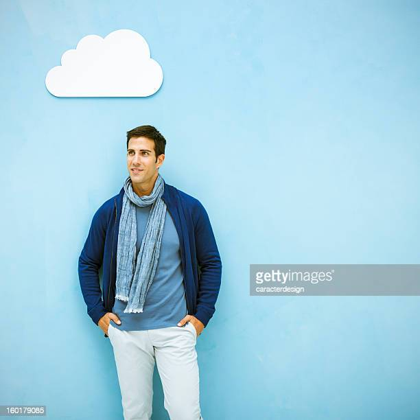 Casual man and cloud computing