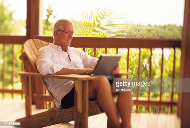 Casual retired man doing business