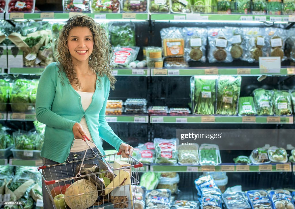 Casual woman at the grocery store