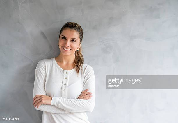 Casual woman looking happy