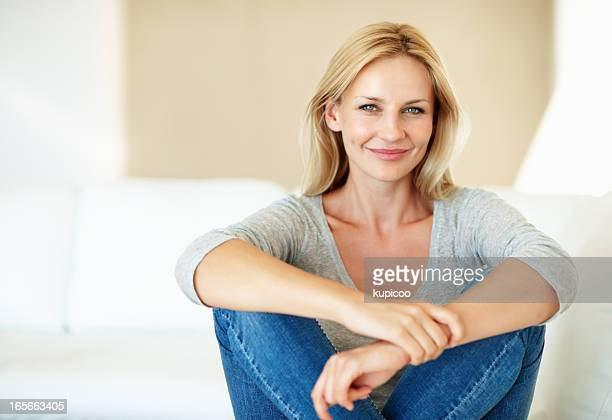 Casual woman on couch