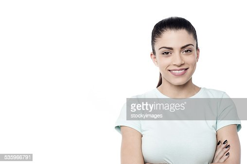 Casual woman posing over white : Stock Photo