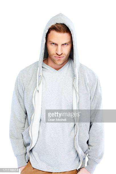 Casual young man wearing sweatshirt with hood