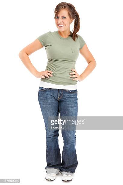 Casual Young Woman in Green T-shirt