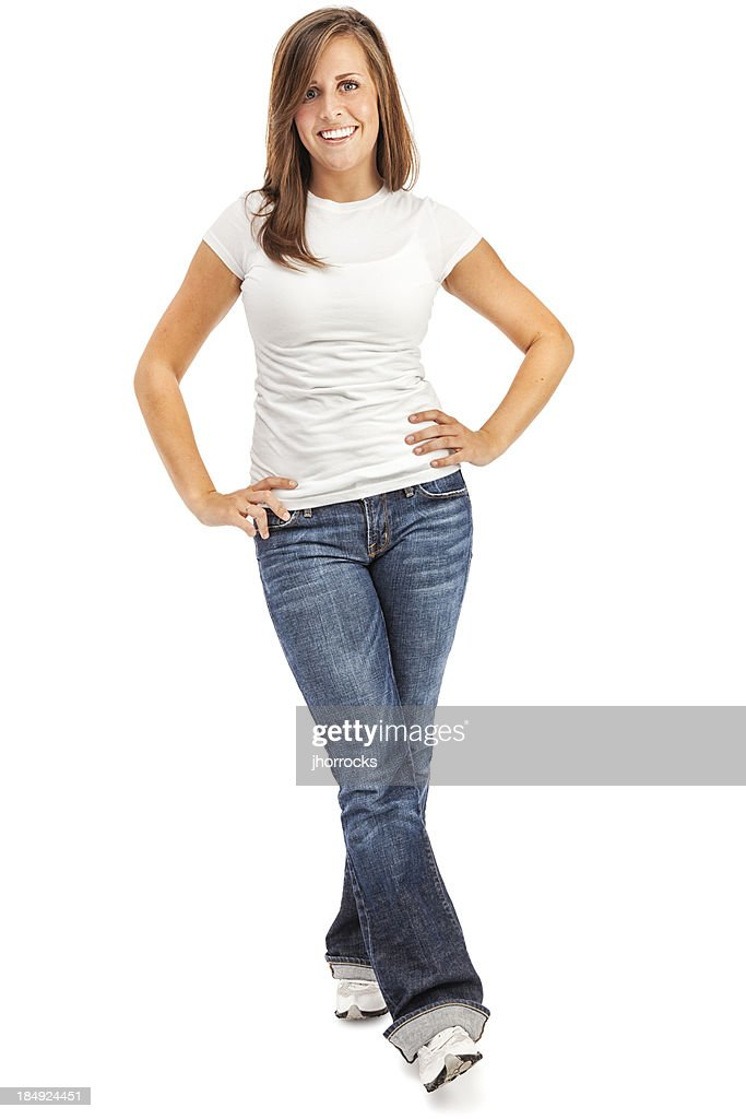 Casual Young Woman In White Tshirt And Blue Jeans Stock Photo | Getty Images