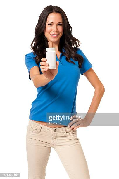 Casual Young Woman with Pill Bottle Isolated on White Background