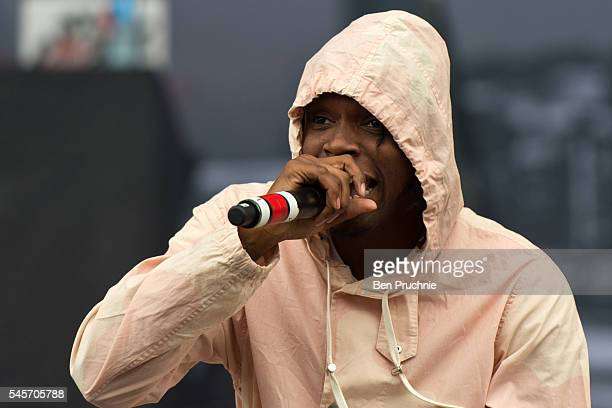 Casyo 'Krept' Johnson of Krept Konan performs at the Wireless Festival at Finsbury Park on July 9 2016 in London England