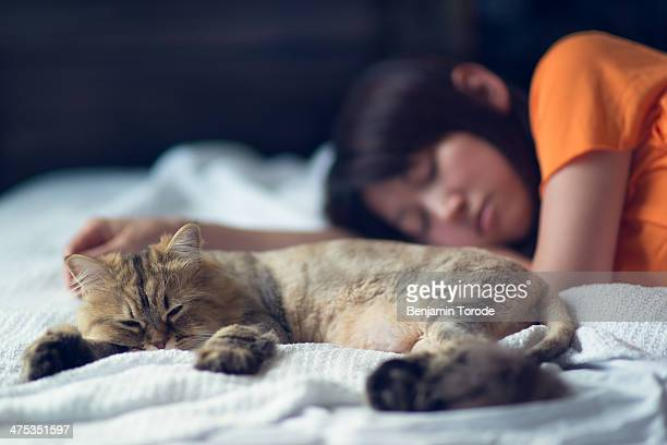Cat and girl taking nap on bed