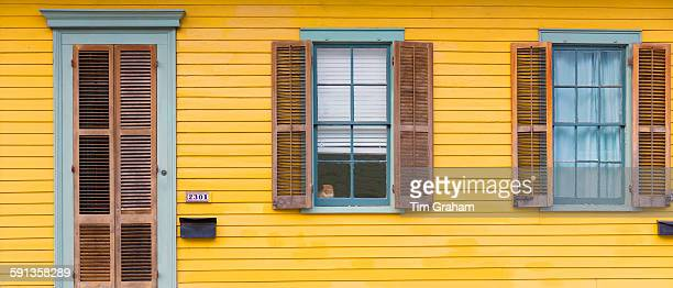 Cat at window of clapboard creole cottage home in Faubourg Marigny historic district of New Orleans USA