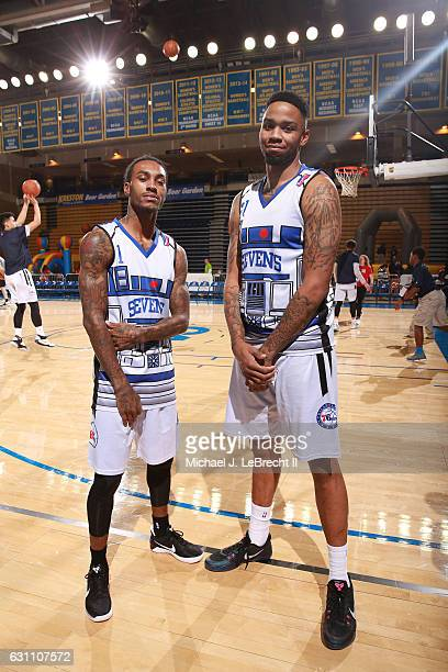 Cat Barber and Shawn Long of the Delaware 87ers pose for a picture before the game against the Erie BayHawks on January 6 2017 at the Bob Carpenter...