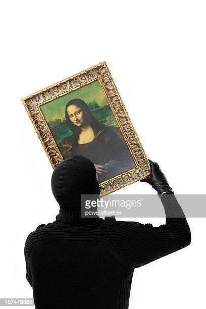 Cat Burgler Stealing the Mona Lisa