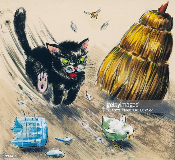 A cat chasing a chick children's illustration drawing