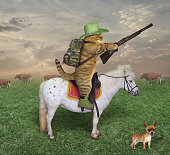 The cat cowboy with a rifle rides a horse on the ranch. His dog is next to him.