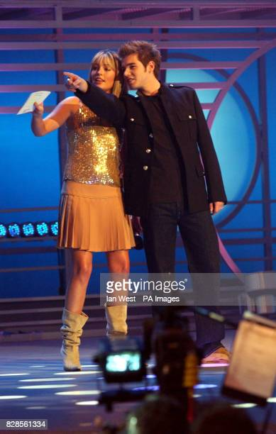 Cat Deeley amd David Sneddon on stage during the BBC 1's Fame Academy live show at Shepperton Studios in London