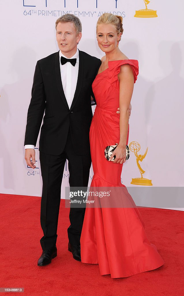 Cat Deeley and guest arrive at the 64th Primetime Emmy Awards at Nokia Theatre L.A. Live on September 23, 2012 in Los Angeles, California.