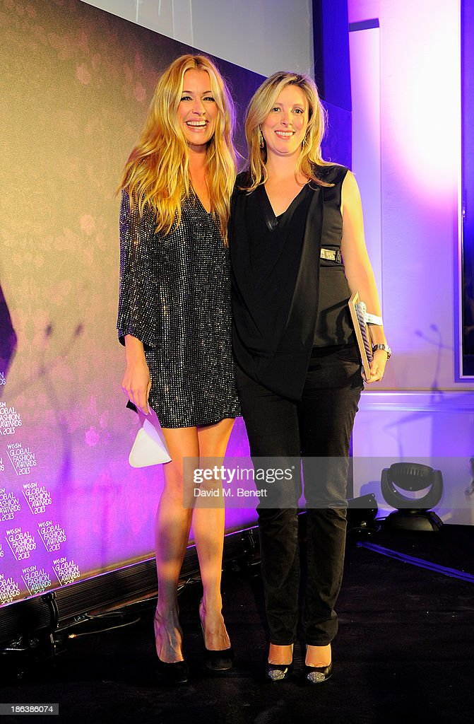 Cat Deeley (L) and Stefanie Phair of The Outnet, winner of the E-store award, pose onstage at The WGSN Global Fashion Awards at the Victoria & Albert Museum on October 30, 2013 in London, England.