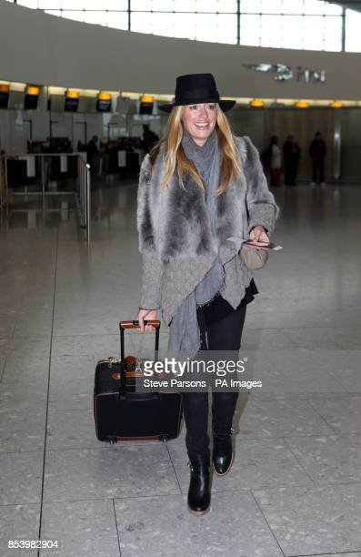 Cat Deeley arrives at Heathrow Airport to catch a flight