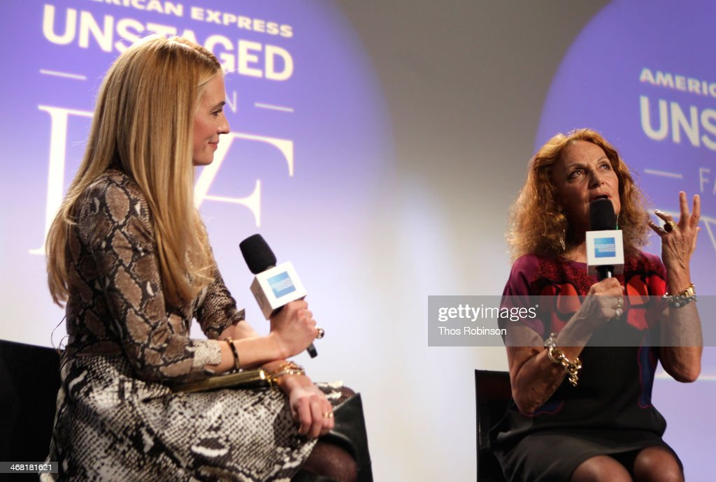 <a gi-track='captionPersonalityLinkClicked' href=/galleries/search?phrase=Cat+Deeley&family=editorial&specificpeople=202554 ng-click='$event.stopPropagation()'>Cat Deeley</a> (L) interviews fashion designer Diane von Furstenberg at the American Express UNSTAGED Fashion with DVF at Spring Studios on February 9, 2014 in New York City.