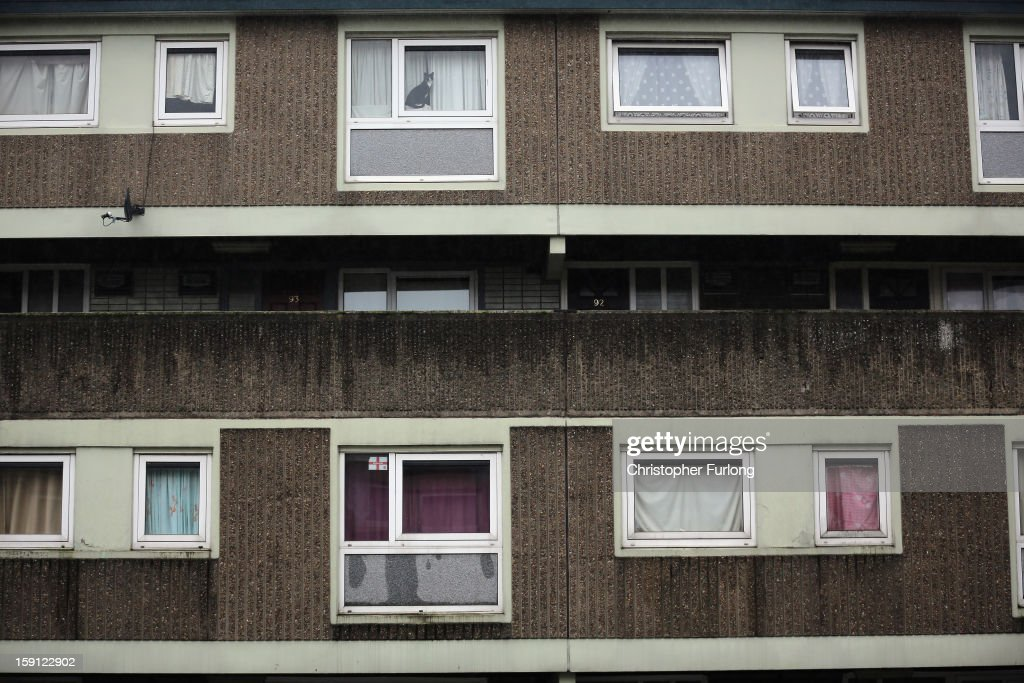 A cat looks out of a window from a home on the Falinge Estate, which has been surveyed as the most deprived area in England for a fifth year in a row, on January 8, 2013 in Rochdale, England. According to data provided by the Department for Communities and Local Government, 72 per cent of people in the local area are unemployed and seven per cent have never had a job. Four out of five children on the estate are living in poverty, with the area having one of the highest teenage pregnancy rates in the country. During today's House of Commons debate, the government urged MPs to back their planned 1 per cent cap on annual rises in benefits and some tax credits for three years from next April. Benefits for people of working age have historically risen in line with the rate of inflation.