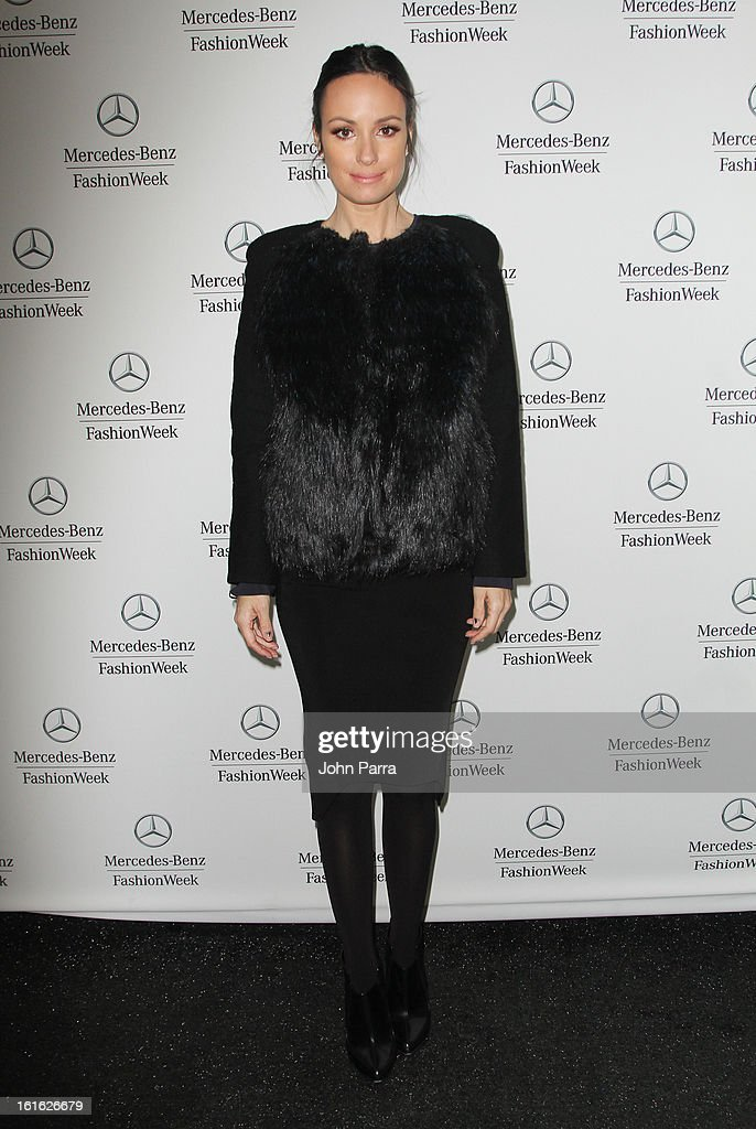 Cat Sadler is seen during Fall 2013 Mercedes-Benz Fashion Week at Lincoln Center for the Performing Arts on February 13, 2013 in New York City.