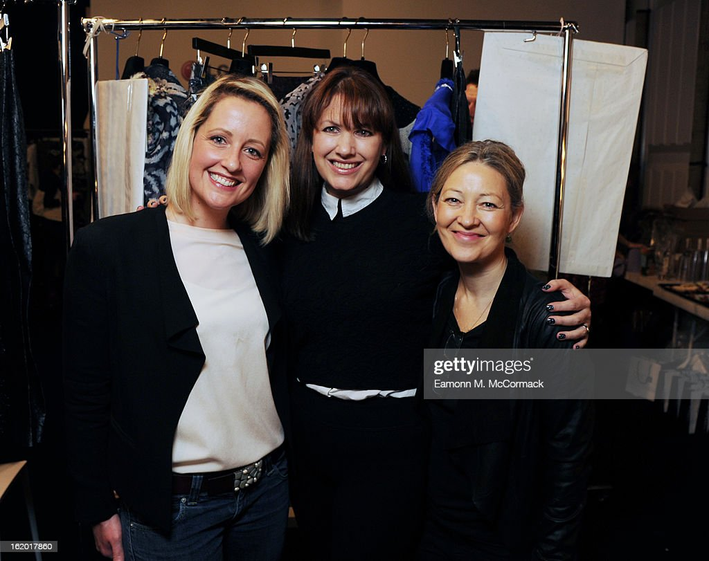 Cat Sims, Editor of Salon Geek, Samantha Sweet, Communications Director of Sweet Squared and Kate Shapland, beauty columnist pose backstage before the Michael van der Ham show at London Fashion Week Autumn/Winter 2013, BFC Courtyard Showspace on February 18, 2013 in London, England.