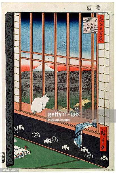 'A Cat Sitting on the Window Seat' 19th century Hiroshige Utagawa Found in the collection of the State A Pushkin Museum of Fine Arts Moscow