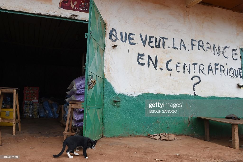 A cat stands outside a shop bearing the inscription 'What does France want in Central Africa ?' in the PK 5 district of Bangui on April 30, 2014. The European Union force sent to help stem deadly sectarian violence in the Central African Republic is operational and has been deployed at Bangui airport, EU sources said on April 30. In the latest violence, two civilians were killed when gunmen ambushed a convoy of some 1,300 Muslims fleeing Bangui on April 27, international peacekeepers said.
