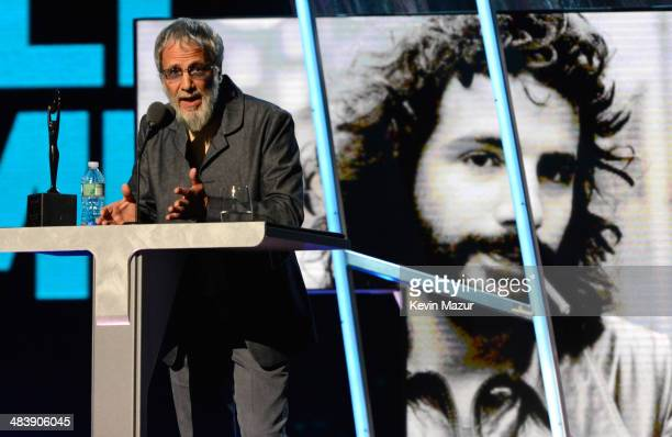 Cat Stevens speaks onstage at the 29th Annual Rock And Roll Hall Of Fame Induction Ceremony at Barclays Center of Brooklyn on April 10 2014 in New...