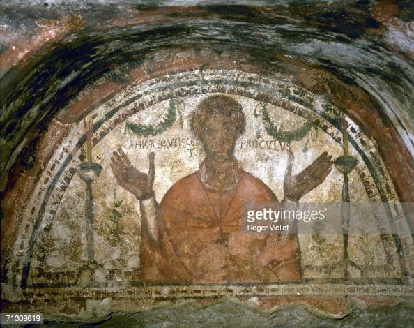 Catacombs of S Gennaro Saint Janvier 'Acrosolio di procolo' fresco early Christian of Vth century