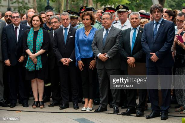 Catalan chief of Domestic Affairs Jordi Jane Mayor of Barcelona Ada Colau President of Catalan Association of Terrorism Victims Jose Vargas President...