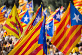 Catalan demonstration claiming for voting on consultation for the independence of Catalonia after that the Spanish government blocks and forbids the...
